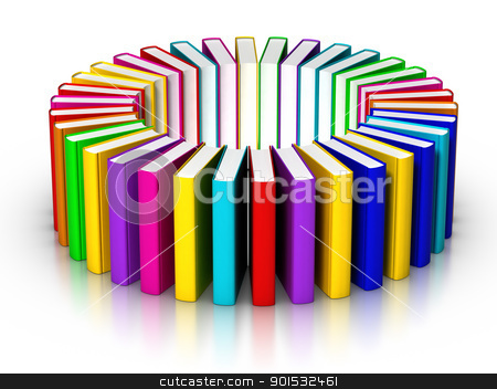 Books Circle stock photo, 3D rendered circle of colourful books by ayzek