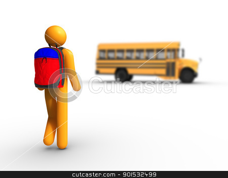 Getting on the school bus stock photo, Getting on the school bus by ayzek