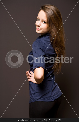 Cute young brunette stock photo, Strong character portait of beautiful young brunette woman. by exvivo