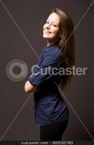 Beautiful young brunette woman. stock photo, Half length portrait of an attractive young brunette woman. by exvivo