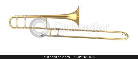 Trombone stock photo, 3D rendered trombone. by ayzek