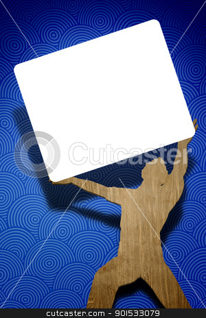 man holding white shield stock photo, A man is holding a white shield by Markus Gann