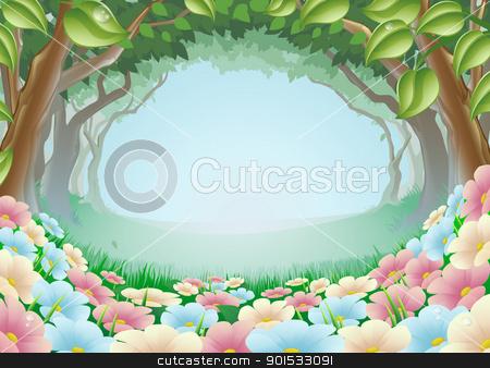 Beautiful fantasy forest scene illustration stock vector clipart, A beautiful fantasy woodland forest scene illustration by Christos Georghiou