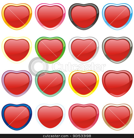 buttons in heart shape stock vector clipart, fully editable vector buttons in heart shape by pilgrim.artworks