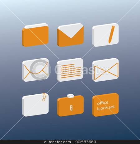 office icons stock vector clipart, fine colored office icons set by metrue