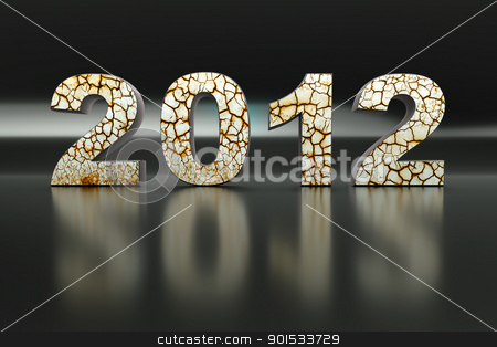 3d new year 2012 stock photo, 3d New Year 2012 shape on Black Reflective Background by Christophe Rolland