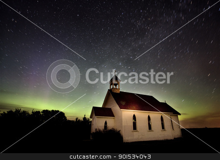 Northern Lights Canada Church country religion stock photo, Northern Lights Canada green and purple Saskatchewan by Mark Duffy