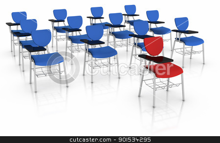 Standing out from crowd stock photo, 3D illustrated School Desk. by ayzek