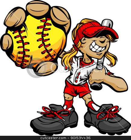 Kid Softball Player Holding Baseball and Bat stock vector clipart, Fast Pitch Softball Girl Cartoon Player with Bat and Ball Vector Illustration by chromaco