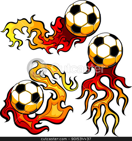 Soccer Ball Flaming Vector Design Template stock vector clipart, Flaming Soccer Ball Vector burning with Fire Flames by chromaco