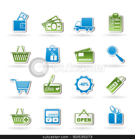 Shopping and website icons  stock vector clipart, Shopping and website icons - vector icon set by Stoyan Haytov