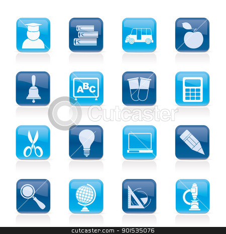 education and school icons  stock vector clipart, education and school icons - vector icon set by Stoyan Haytov