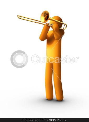 Playing Trombone stock photo, Playing Trombone by ayzek
