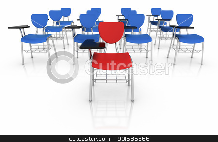 Standing out from crowd stock photo, 3D illustrated School Desks. by ayzek