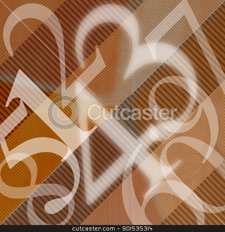 123 Numbers Abstract Background stock photo, Illustration with scattered numbers of wavy brown background  by catalby