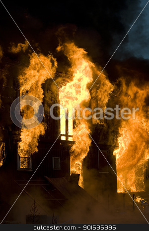 Fire stock photo, Apartment building on Fire at Night time by Anne-Louise Quarfoth