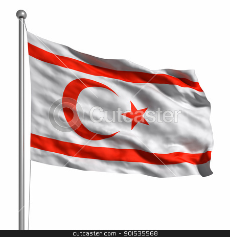 Flag Of Northern Cyprus stock photo, Flag Of Northern Cyprus. Rendered with fabric texture (visible at 100%). Clipping path included. by ayzek