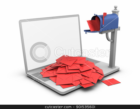 Laptop - Mailbox stock photo, Laptop - Mailbox. by ayzek