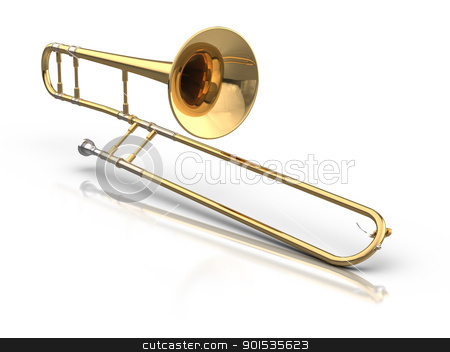 Trombone stock photo, 3D rendered trombone. by ayzek