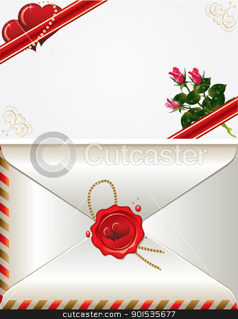 Valentine's day stock vector clipart, vector set of decorative Saint Valentine's card and envelopes with hearts and roses by Rimantas Abromas