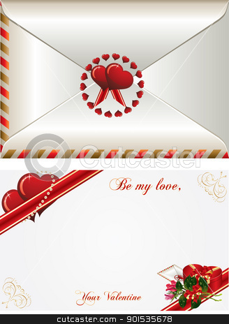 Be my Love stock vector clipart, Valentines Day card with bucket roses, envelope and gift box by Rimantas Abromas