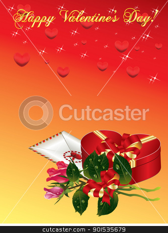 Valentines Day background stock vector clipart, Valentines Day background with bucket roses, envelope and gift box by Rimantas Abromas