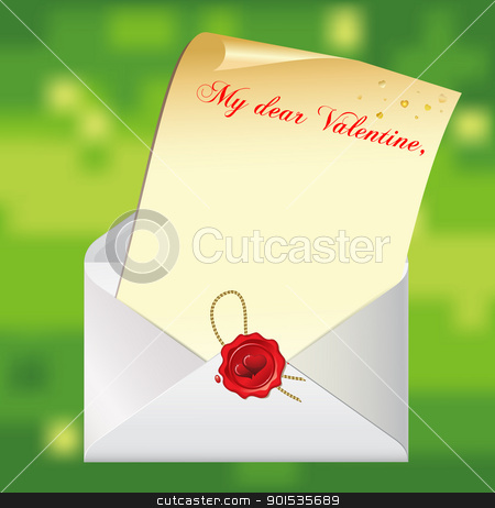 Valentines day background stock vector clipart, Valentines day background with letter and envelope with valentine stamp. EPS8 by Rimantas Abromas