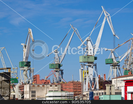 shipyard stock photo, shipyard and cranes in Pula Croatia by nevenm