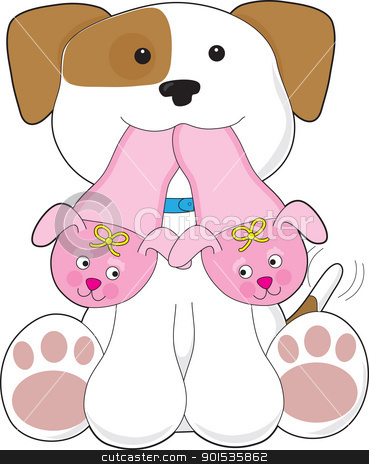 Cute Puppy Slippers stock vector clipart, A cute smiling puppy is holding out a pair of pink slippers in its mouth. by Maria Bell