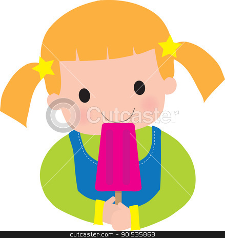 Little Girl Popsicle stock vector clipart, This is a very colorful illustration, of a little girl eating a popsicle. by Maria Bell