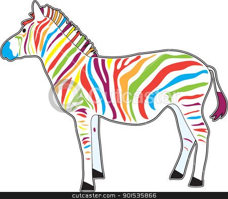 Multicolored Zebra stock vector clipart, An illustration of a Zebra in profile, with multi color stripes, instead of black stripes. by Maria Bell