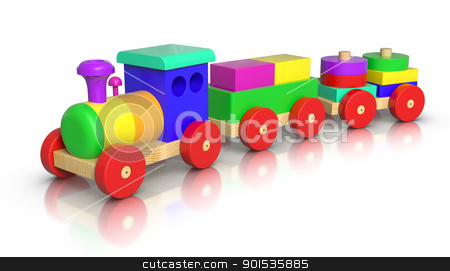 Wooden Toy Train stock photo, 3D rendered Wooden Toy Train on white background. by ayzek