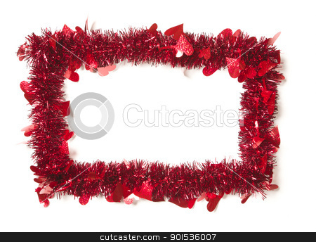 Red Tinsel with Hearts Border Frame stock photo, Red Tinsel with Hearts Border Frame Shape on a White Background Ready For Your Own Message. by Andy Dean