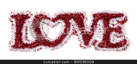 The Word Love Shaped White and Red Tinsel stock photo, The Word Love Shaped White and Red Tinsel on a White Background. by Andy Dean