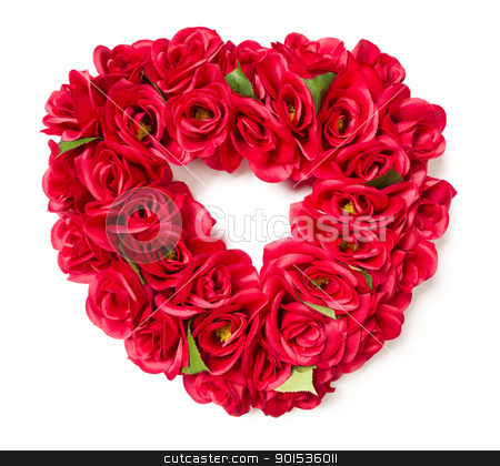 Heart Shaped Red Rose Arrangement on White stock photo, Heart Shaped Red Rose Arrangement on a White Background. by Andy Dean