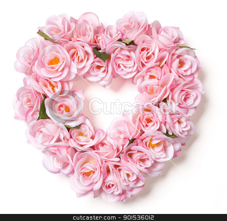 Heart Shaped Pink Rose Arrangement on White stock photo, Heart Shaped Pink Rose Arrangement on a White Background. by Andy Dean