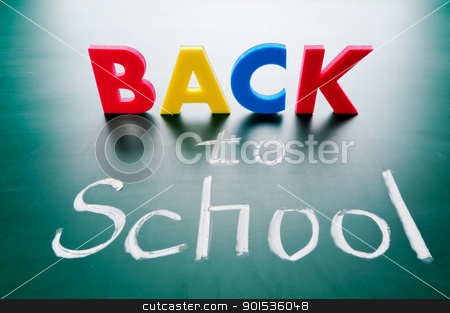 Back to school stock photo, Back to school, colorful words on blackboard. by Lawren