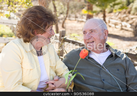 Senior Woman with Man Wearing Oxygen Tubes stock photo, Senior Woman Outside with Seated Man Wearing Oxygen Tubes. by Andy Dean