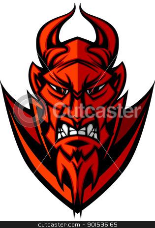 Demon Devil Mascot Head Vector Illustration stock vector clipart, Demon or Devil Mascot Head Graphic Vector Image by chromaco