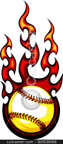 Baseball with Flames Vector Image stock vector clipart, Baseball Sport Vector Graphic Image with Flames by chromaco