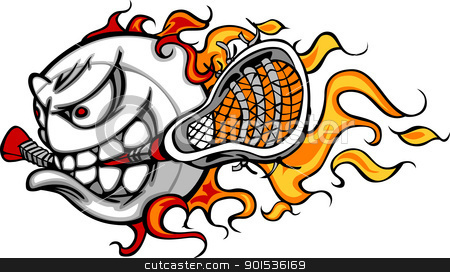 Lacrosse Ball Flaming Face Vector Image stock vector clipart, Flaming Lacrosse Ball Face Cartoon Illustration Vector by chromaco