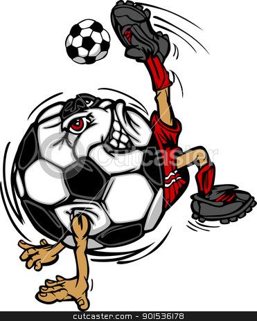 Soccer Football Ball Player Cartoon stock vector clipart, Soccer Ball Cartoon Image as a Soccer Player Kicking Soccer Ball by chromaco