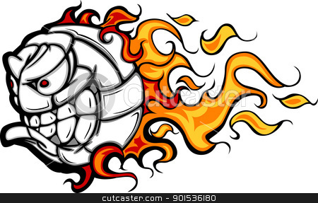 Volleyball Ball Flaming Face Vector Image stock vector clipart, Flaming Volleyball Ball Face Cartoon Illustration Vector by chromaco