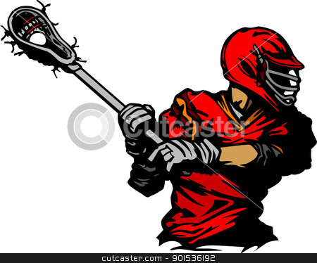 Lacrosse Player Cradling Ball Illustration stock vector clipart, Vector Illustration of a Lacrosse Player by chromaco