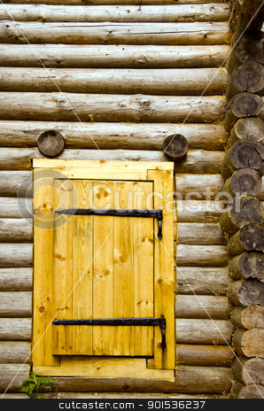 Old log house background new wooden door of board  stock photo, Old log house background and new wooden door of board set.  by sauletas