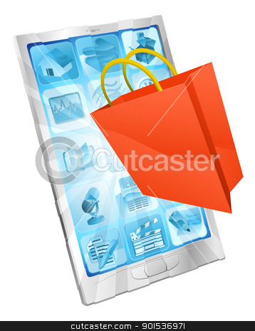 Online shopping app concept  stock vector clipart, Shopping bag icon coming out of phone screen online shopping concept  by Christos Georghiou