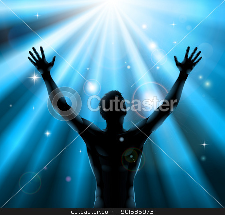 Spiritual man with arms raised up concept stock vector clipart, A man with hands held up in silhouette with light rays in the background by Christos Georghiou