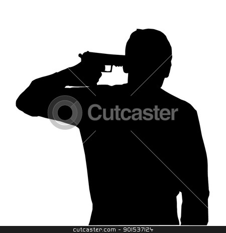Man Suicide stock vector clipart, Silhouette of man holding gun against own head by Snap2Art