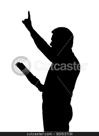 Preacher Teaching from Bible with Raised Arm stock vector clipart, Preacher Reading from Bible with Raised Arm by Snap2Art