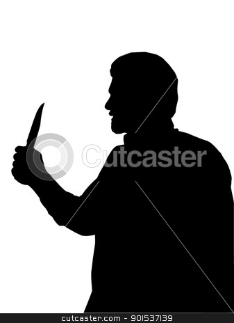 Silhouette of man Holding Knife stock vector clipart, Silhouette of Man holding Knife in one Hand  by Snap2Art